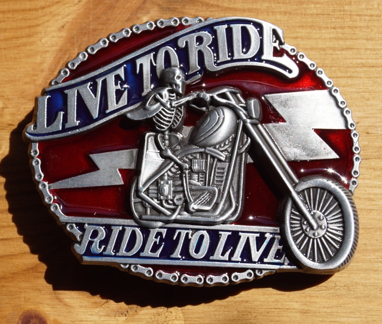 """Schnalle """" Live to ride,  Ride to live """"  Skelett"""