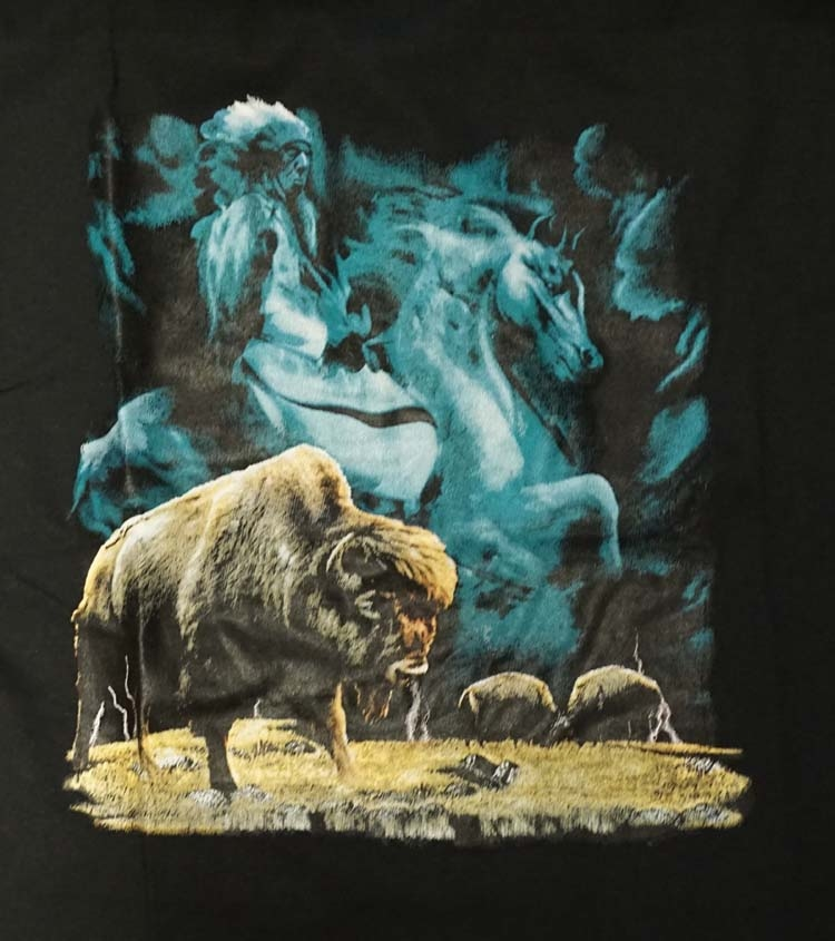 """T-shirt """" Indian on horse with bison """""""