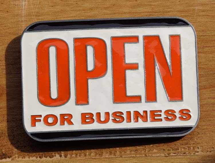 """Textschnalle  """" Open for business """""""